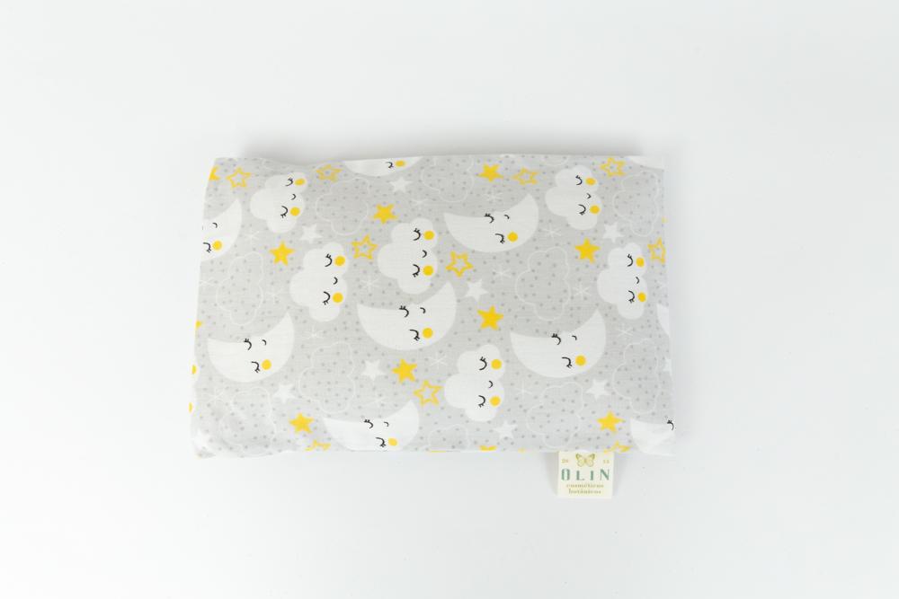 Calm Baby Almofada Térmica Natural Nuvem cinza e amarela unissex - Tamanho U