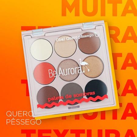Be Aurora Paleta de Sombras 9 Cores Quero Pêssego Nº02