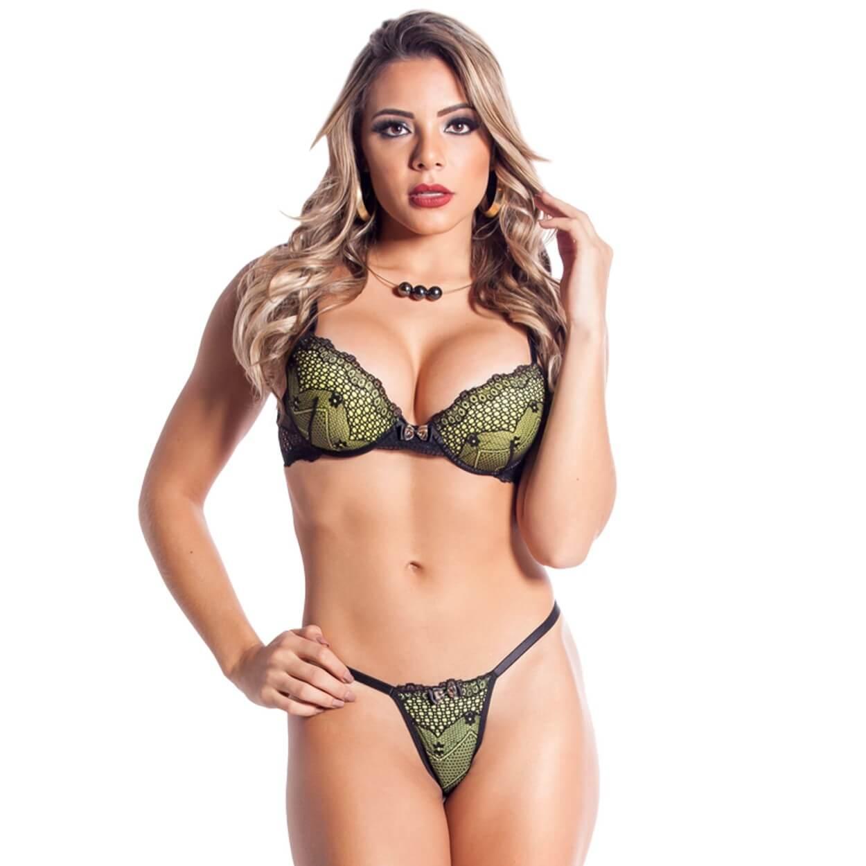 Conjunto Lingerie Com Bojo Sexy Preta E Verde Malva Sapeka