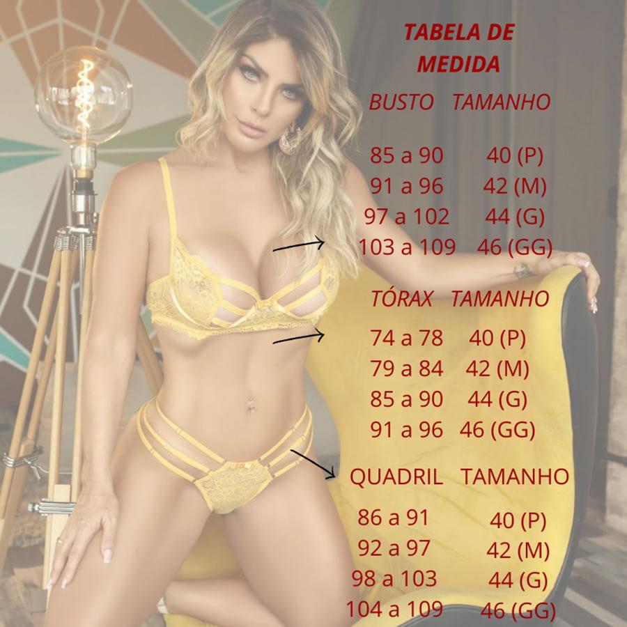 CONJUNTO SEM BOJO CALCINHA COM TIRAS NO BUMBUM TAM; 40 (P)