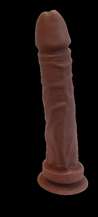 Pênis Soft Touch Ejaculador 18,0 x 3,6 cm com ventosa na cor chocolate
