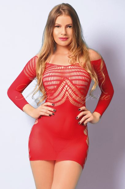 Vestido Sensual Manga Longa Yaffa - Y1542 Red