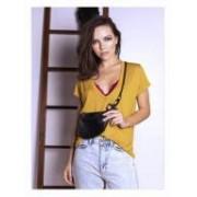 Camiseta Decote Profundo Amarelo quente
