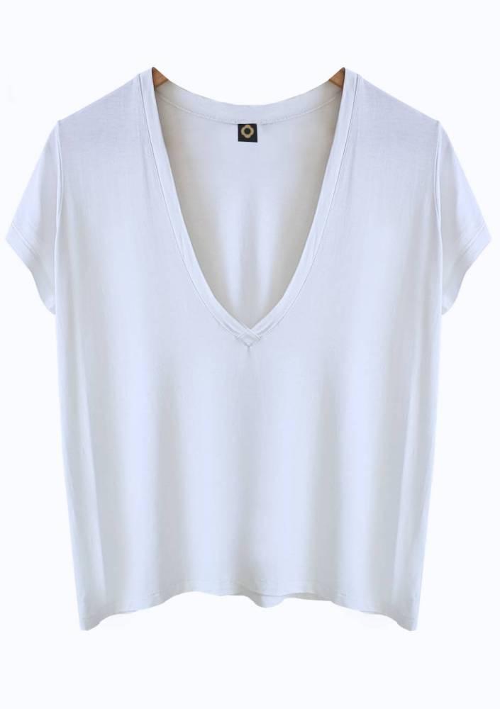 Camiseta Decote Profundo Branca