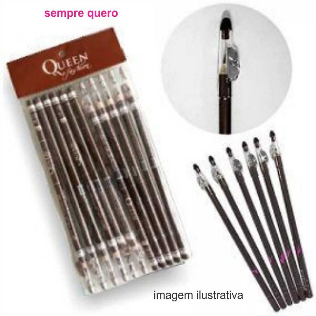 Lápis para sobrancelha Queen Fashion Marrom 2.0GRS