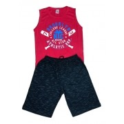 Kit 4 Conjunto Masculino Camiseta/regata E Bermuda Moletom