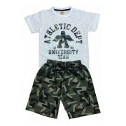 Kit 4 Conjuntos Camiseta Malha e Bermuda Moletom