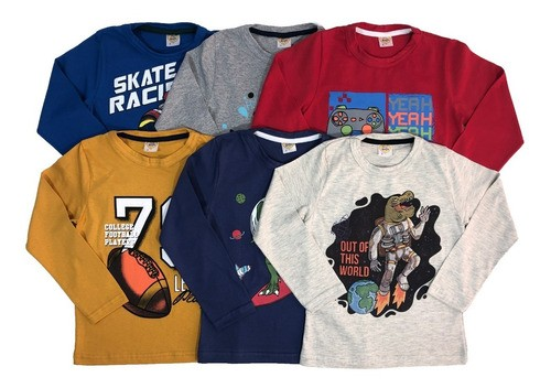 Kit 4 Camisetas Manga Longa 100% Algodão