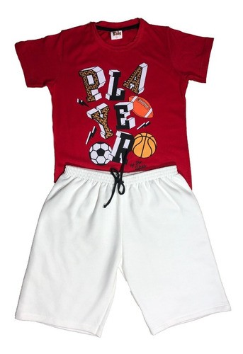 Kit 4 Conjuntos Masculino Camiseta Malha E Bermuda Moletom