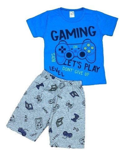 Kit 4 Pijamas Divertidos Camiseta e Bermuda