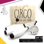 Kit Circo 12 | 3 Claves Brancas + Bola Cristal 10mm + Bolsa