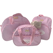 Kit Bolsa Maternidade 3 Peças Chevron Mave Baby Bebê Rosa Bolsas
