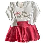 Vestido Infantil Saia de Plush Blusinha de Malha c/ Bordado Menina