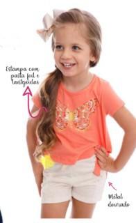 Conjunto Blusinha e Shorts Borboleta
