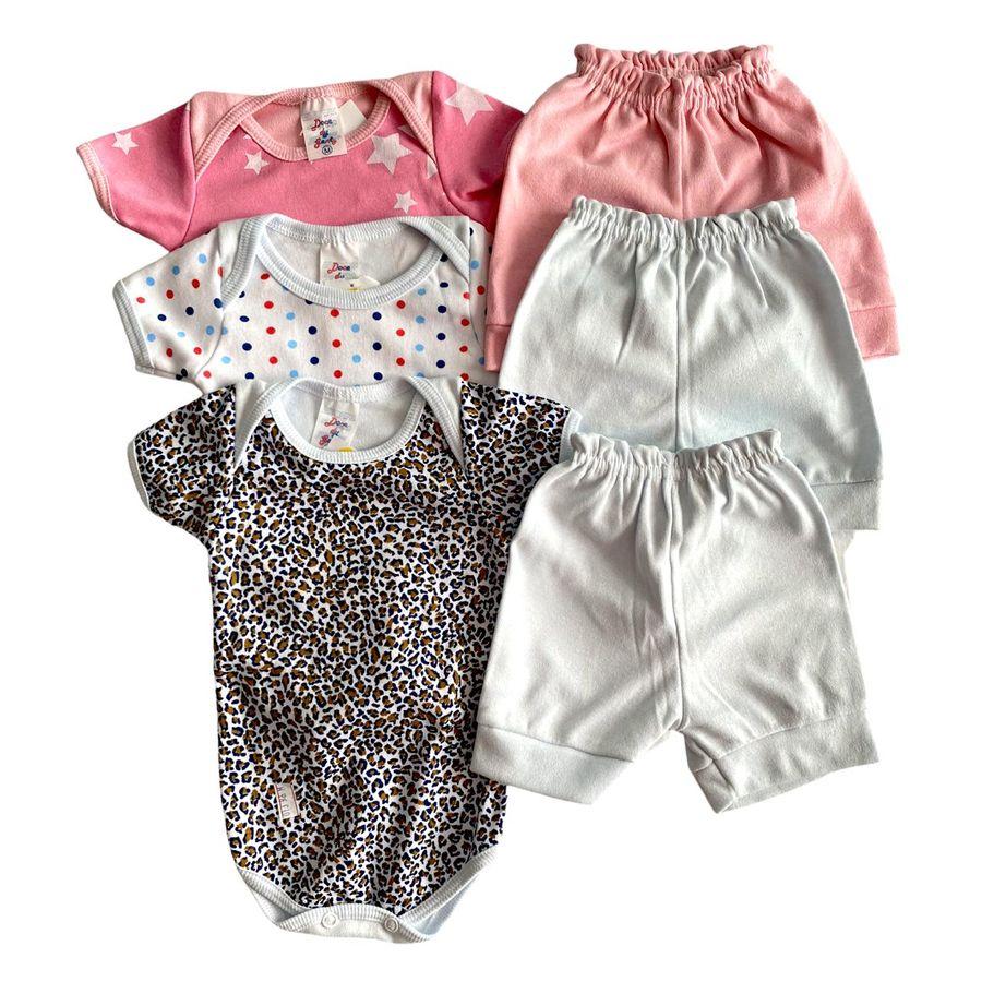 Conjunto body e shorts bebê em algodão