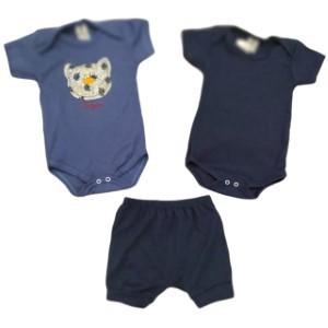 Kit 3 Peças Body Curto Bordado e Shorts Suedine