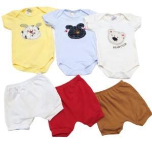 Kit 6 Peças Body Curto Bordado e Shorts Suedine