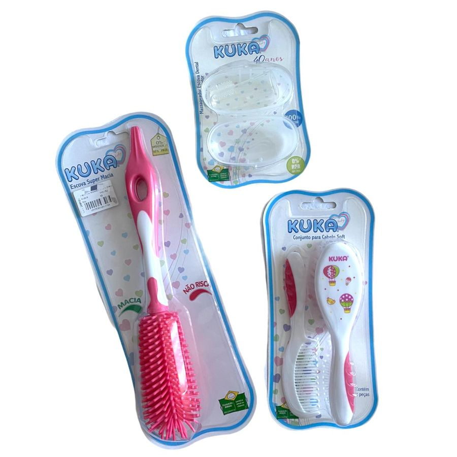 Kit Bebê Pente, Escova, Massageador Escova Dental e Escova Super Macia