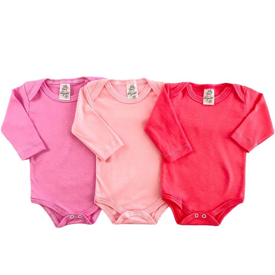 Kit Body Liso Suedine bebê 3 peças Menino, Menina e Neutro
