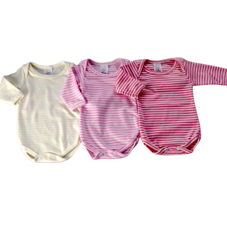 Kit Body Listrado 3 Peças Bebê