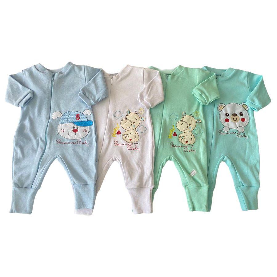 Kit Macacão Bordado em Suedine 4 Peças Bebê