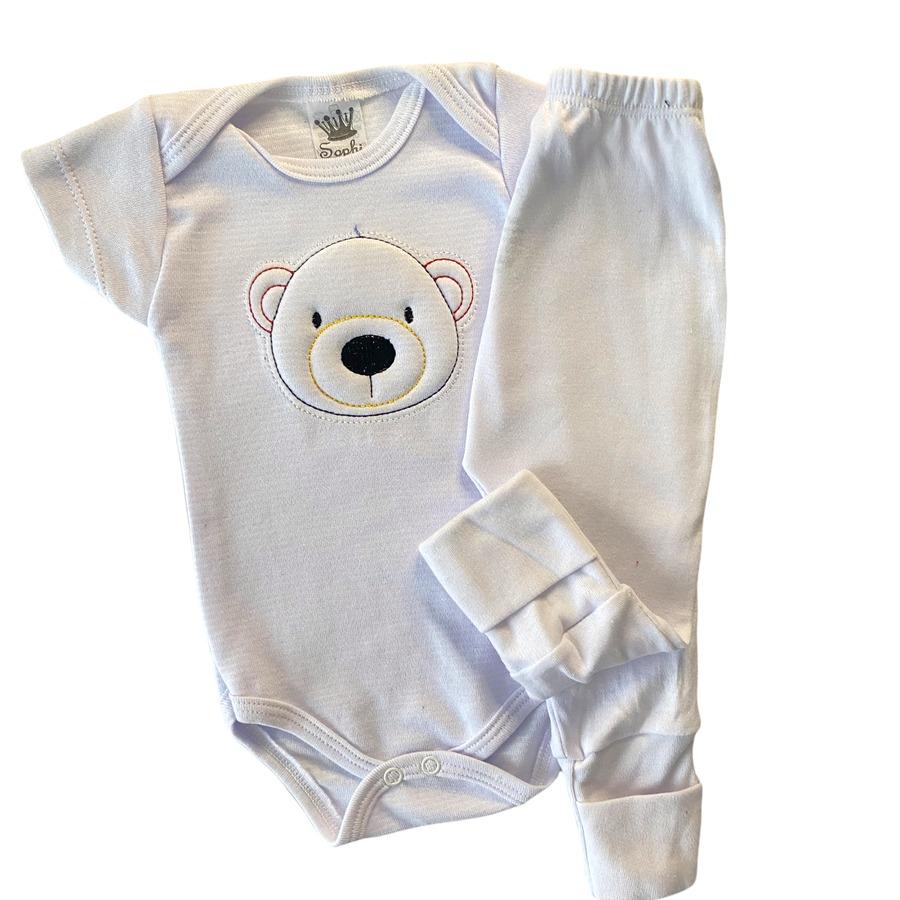 Roupa de Bebe Body e Calça Manga Curta Bordada Listrada RN