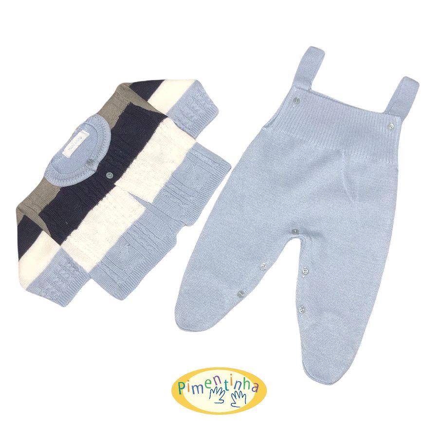 Saída de Maternidade Azul Claro Cinza e Azul Marinho com Casaco Macacão e Manta