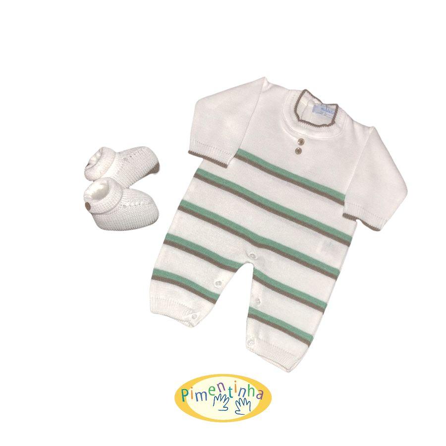 Saída de Maternidade Branca com Listras Verdes, Sapatinho e Manta