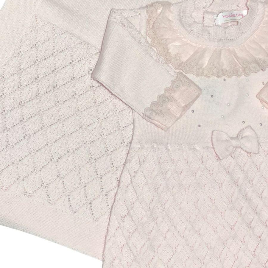 Saída de Maternidade Rosa com Vestido Detalhado, Calça e Manta