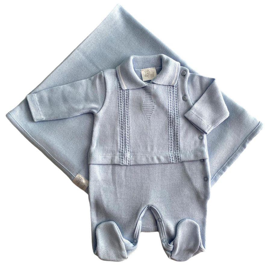 Saida Maternidade Bordado Gravata Azul Bebê