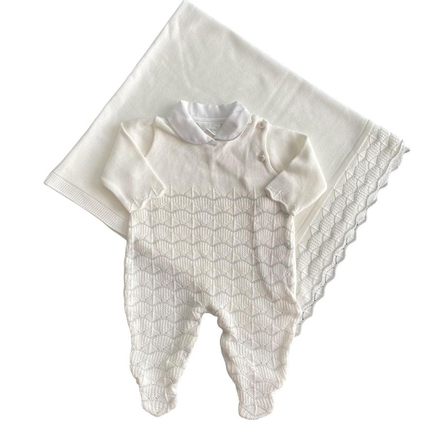 Saída Maternidade Ponto com Ondas Rosa e Branco