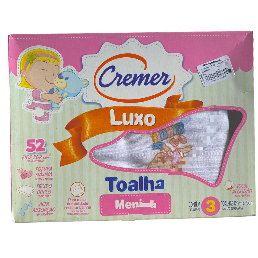 Toalha Luxo Cremer Menina 3 Peças 120 x 70 cm