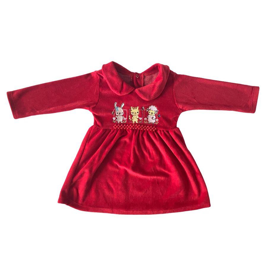 Vestido Infantil Menina de Bebe Bordado de Animais Plush Manga Longa Frio
