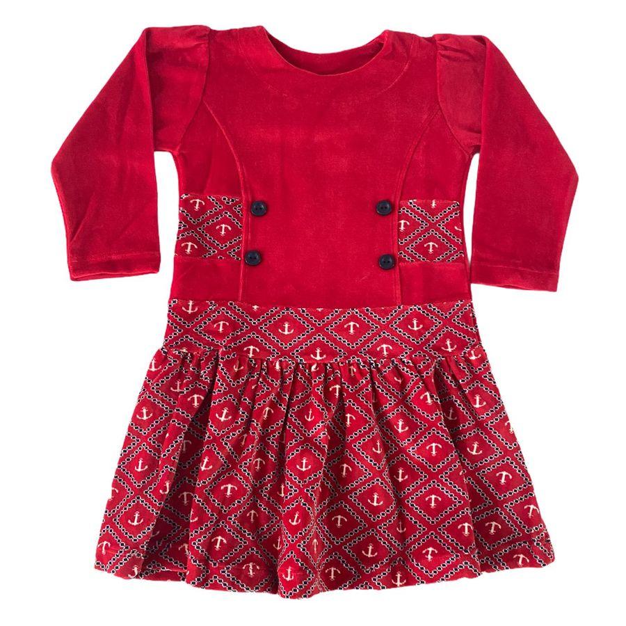 Vestido Infantil Plush Ancora Vermelho Menina
