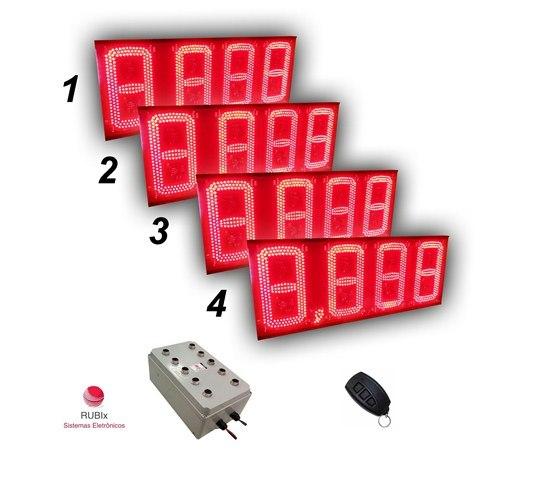 Kit eletrônico de led para posto de rodovia 4 combustíveis face unica