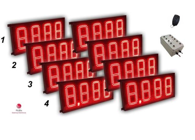 Kit eletrônico de led para posto de cidade 4 combustíveis face dupla