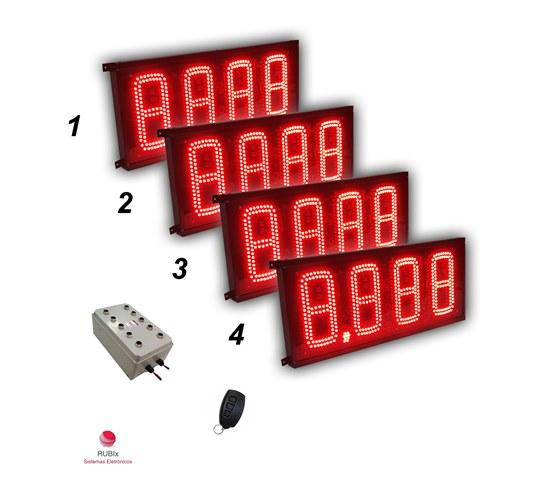 Kit eletrônico de led para posto de cidade 4 combustíveis face única