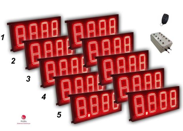 Kit eletrônico de led para posto de cidade 5 combustíveis face dupla