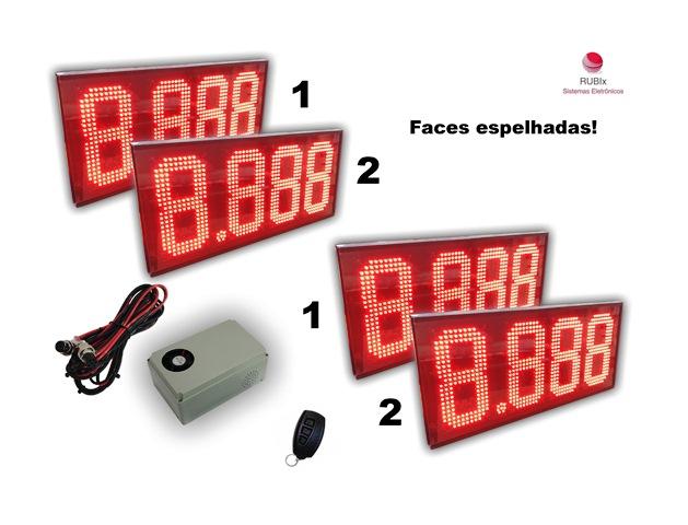 Kit eletrônico de led SHELL para totem 2 combustíveis dupla face