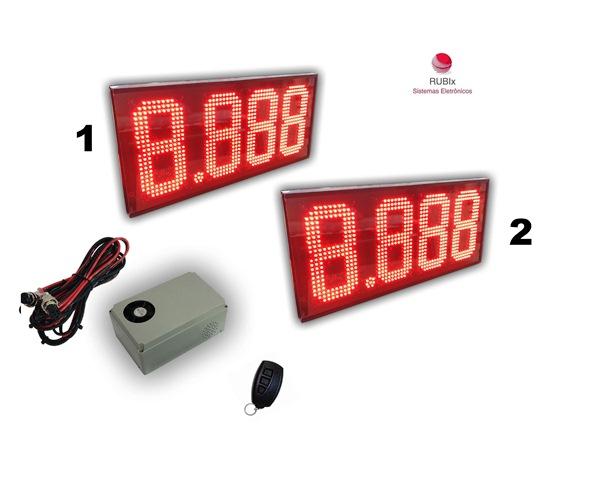 Kit eletrônico de led SHELL para totem 2 combustíveis face unica
