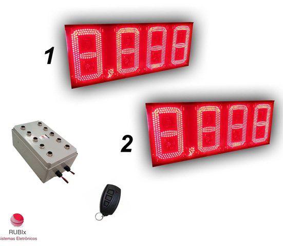 Kit eletrônico de led para posto de rodovia 2 combustíveis face unica