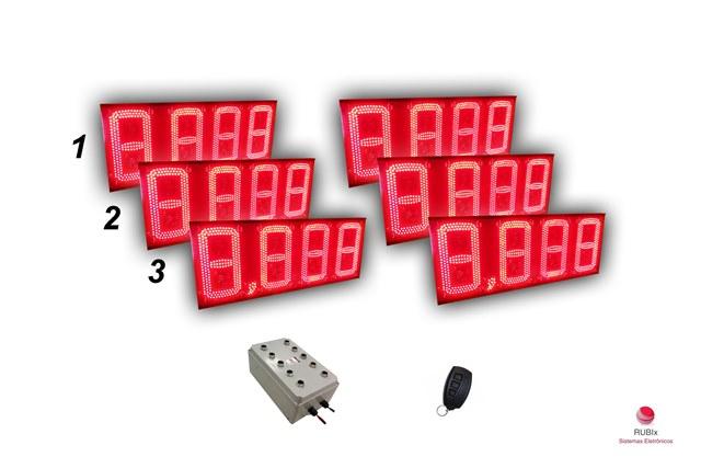 Kit eletrônico de led para posto de rodovia 3 combustíveis face dupla
