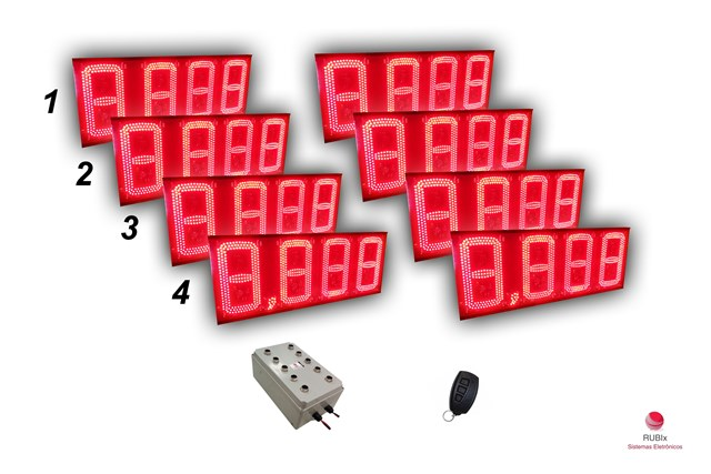 Kit eletrônico de led para posto de rodovia 4 combustíveis face dupla