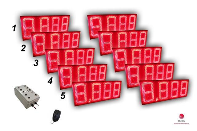 Kit eletrônico de led para posto de rodovia 5 combustíveis face dupla