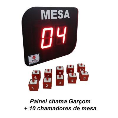 KIT Painel eletrônico de led Chama Garçom para 10 mesas.