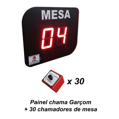 KIT Painel eletrônico de led Chama Garçom para 30 mesas.