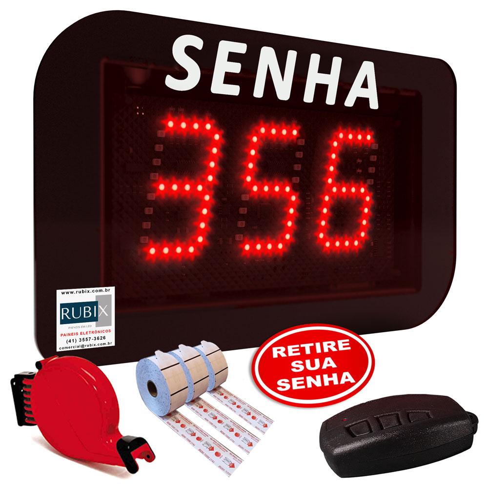 Kit painel de senhas com dispensador, 3 bobinas, 1 controle remoto e 1 placa Retire sua Senha.