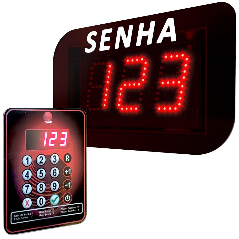 Painel eletrônico led de senhas aleatórias com 3 dígitos de 5cm. Acionamento via teclado sem fio.