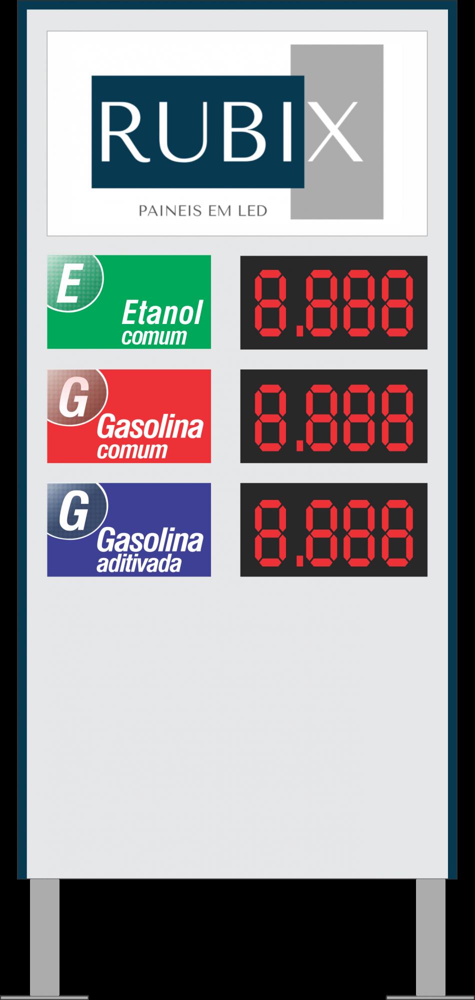 Placa eletrônica de led 3 produtos face unica para posto de combustíveis