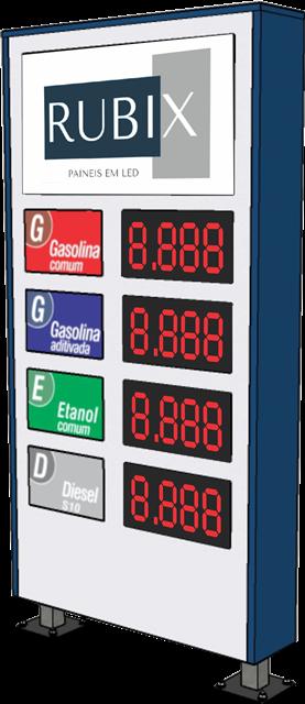 Placa eletrônica de led 4 produtos dupla face para posto de combustíveis